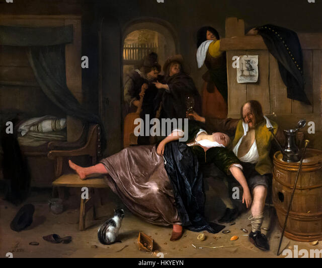 The Drunken Couple, by Jan Steen, circa 1655-65, oil on panel, Rijksmuseum, Amsterdam, Netherlands, Europe, - Stock Image