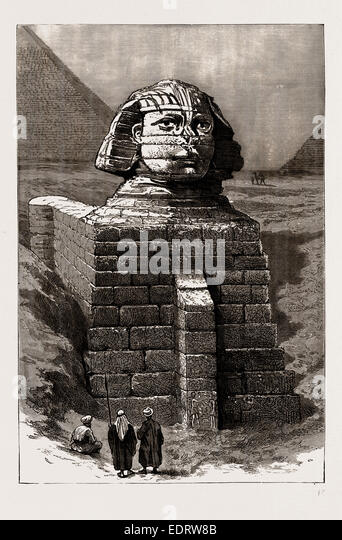 ANTIQUARIAN EXCAVATIONS IN EGYPT, 1886: THE GREAT SPHINX AS NOW CLEARED FROM THE ENCUMBERING SAND - Stock-Bilder