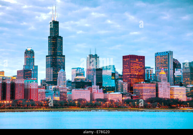 Chicago downtown cityscape at sunset - Stock Image