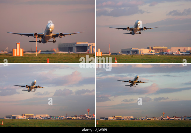 Composite image of Emirates Boeing 777-31H/ER taking off from runway 27R at London Heathrow Airport, UK - Stock Image