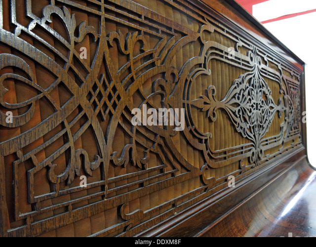 Upright Piano wooden Fretwork - Stock Image