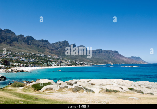 Mountains above coastline - Stock Image