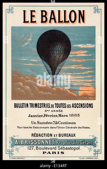 1800's vintage promotional poster advertising 'Ballon' rides in France - Stock-Bilder