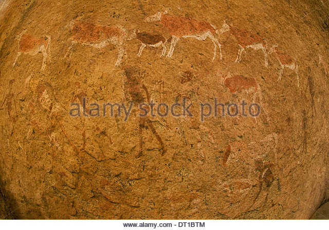 Uibasen Conservancy Damaraland Namibia ancient rock art animals people Twyfelfontein - Stock Image