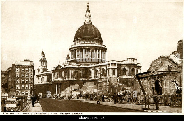 WWII - Bomb damage near St Paul's, view from Cannon Street, London. Caption reads: 'This is a time for everyone - Stock Image