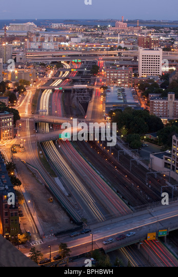 Aerial view of a city, Boston, Suffolk County, Massachusetts, USA - Stock Image