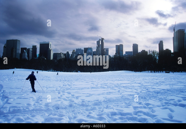 Sheep meadow Central Park New York after snow storm 2003 - Stock Image
