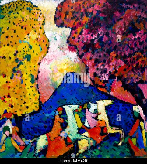 Blue Mountain, by Vasily Kandinsky, 1908-1909, Solomon R. Guggenheim Museum, Manhattan, New York City, USA, North - Stock Image