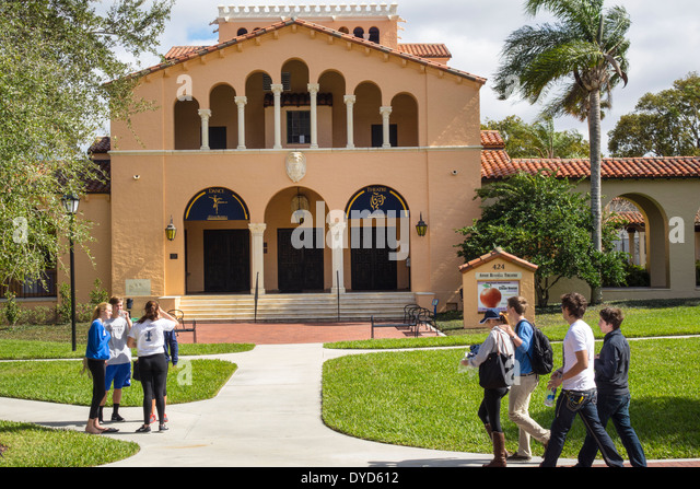 Winter Park Florida Rollins College school campus Annie Russell Theater theatre student teen girl boy talking walking - Stock Image