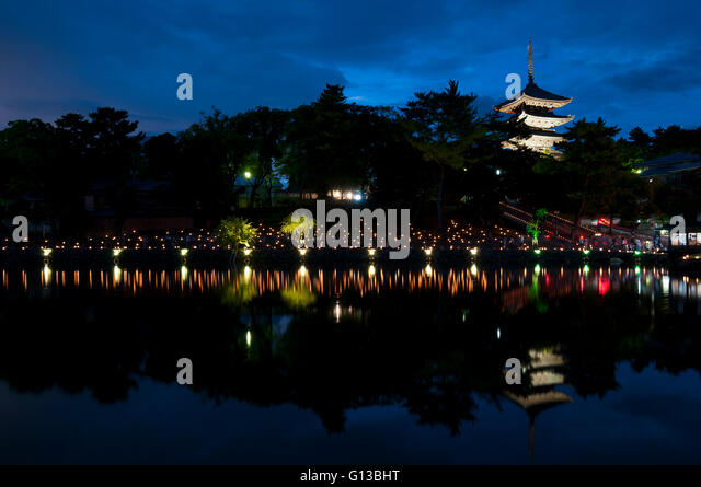 Sarusawaike Pond during Nara tokae lantern festival, Nara, Japan - Stock Image