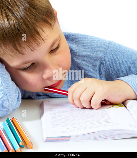 schoolboy with the book - Stock Image
