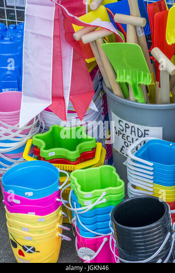 Mandatory seaside paraphernalia which goes with kids' bucket and spade summer holidays. - Stock Image