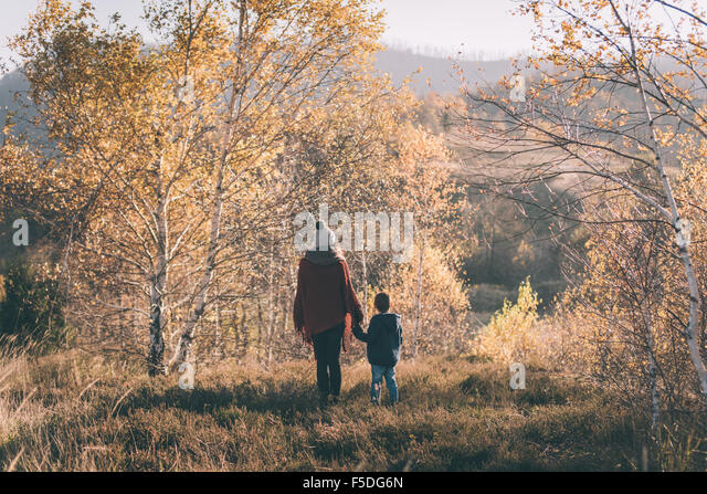 Woman and her son in nature. - Stock Image