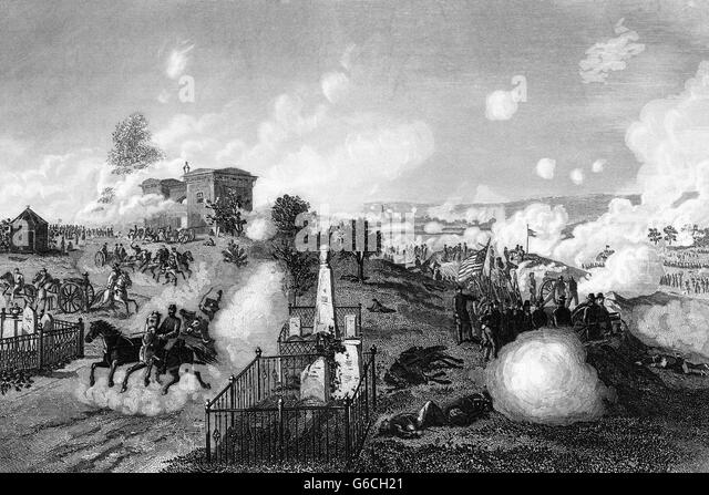 1860s JULY 1863 VIEW OF UNION LINES DURING BATTLE OF GETTYSBURG - Stock Image