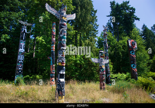 Totem Poles in Stanley Park, Vancouver, British Columbia, Canada. - Stock Image