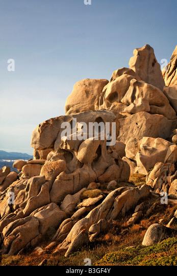 Italy Sardinia Capo Testa bizarre rock landscape - Stock Image