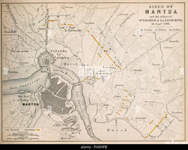 Map of Siege of Mantua - During the Siege of Mantua, which lasted from 4 July 1796 to 2 February 1797 with a short - Stock-Bilder