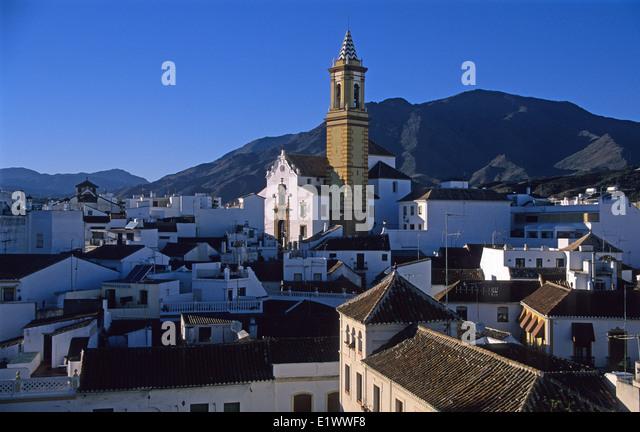 Estepona, Costa De Sol, White Village, Andalucia Spain Pueblo Blanco Sierra Bermeja mountain Inglesia de los Remedios - Stock Image