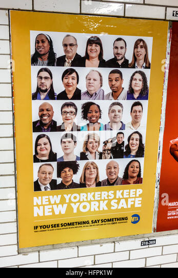 New York New York City NYC Bronx subway MTA public transportation platform poster public safety campaign crime reporting - Stock Image