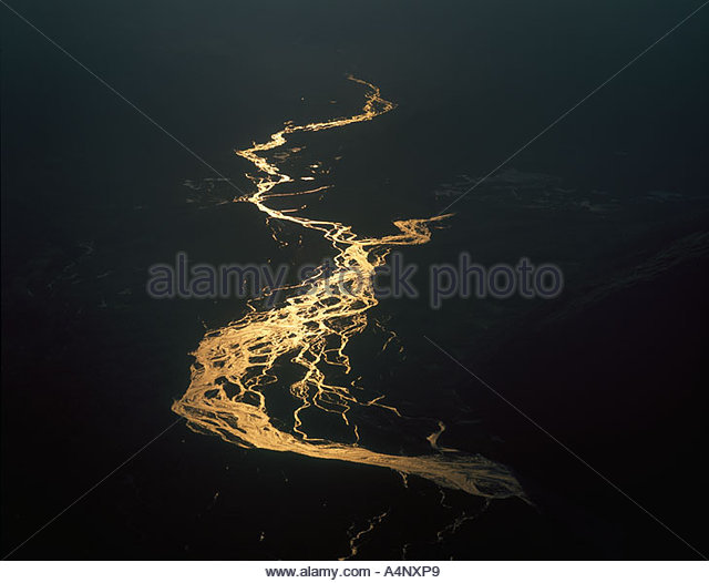 USA, Alaska, Denali NP, Aerial sunset view of Tokasitna River - Stock Image