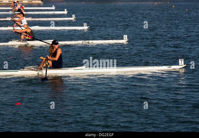 single women's rowing regatta start of the race - Stock Image