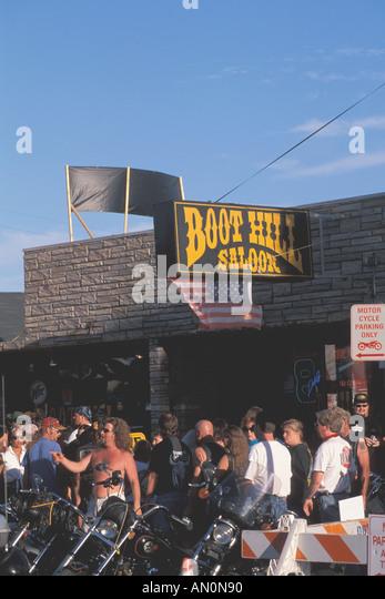Daytona Beach Florida fl bike week Boot Hill Sakoon crowd - Stock Image