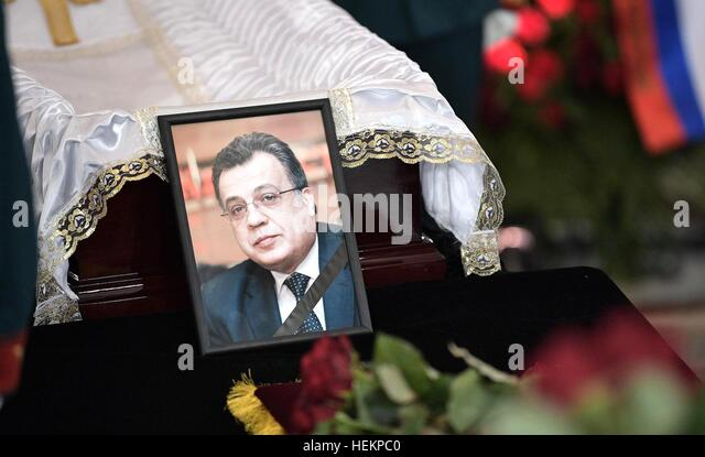 Moscow, Russia. 22nd Dec, 2016. A photo of Russian Ambassador to Turkey Andrei Karlov during the memorial service - Stock-Bilder