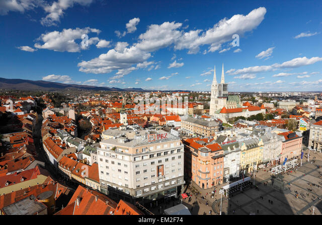 Zagreb aerial view. Jelacic square and Zagreb Cathedral. - Stock Image