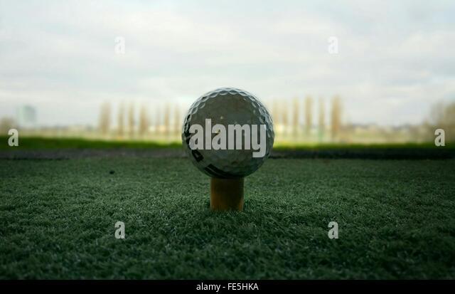 Golf Ball On Tee - Stock Image