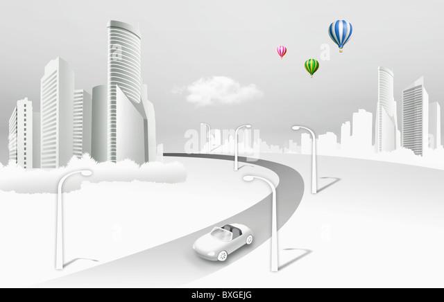 urban scenery in illustration - Stock Image