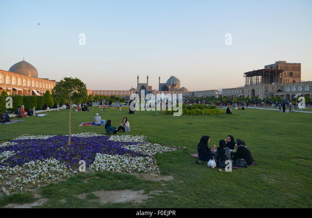 Isfahan (Iran), Imam Square / Naqsh-e Jahan / Royal Square, Safavid period (17th century) - Stock Image
