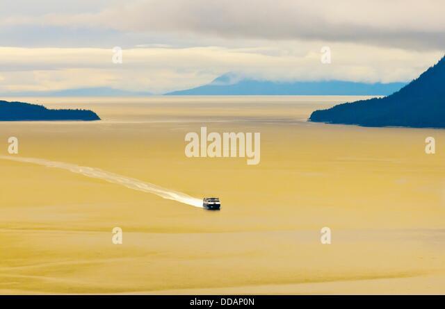 Flying between Gustavus and Juneau, southeast Alaska USA - Stock Image