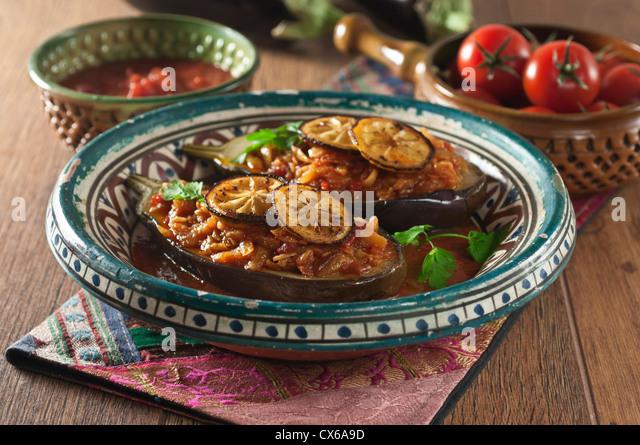 Imam bayildi Braised stuffed aubergine - Stock Image