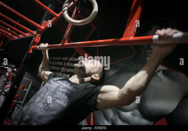Tomsk, Russia. 12th Apr, 2016. Russian athlete Viktor Filippov during a training session in a gym. Filippov has - Stock Image