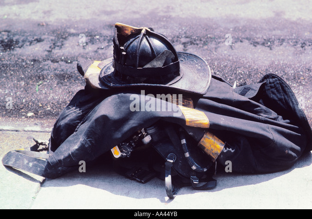 New York City NYC Fireman's Gear Folded on the Pavement USA - Stock Image