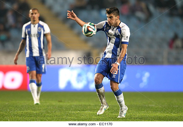 PORTUGAL, Coimbra: Porto's Portuguese midfielder Ruben Neves in action during Premier League 2014/15 match between - Stock Image