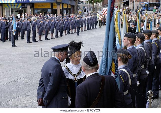 Nottingham, UK, 14 September 2014, Battle of Britain Sunday parade - Old Market Square Nottingham  Sheriff of Nottingham, - Stock Image