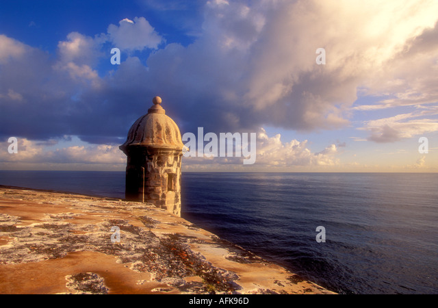 Lookout turret on the wall of El Morro Fortress in Old San Juan Puerto Rico Caribbean - Stock Image