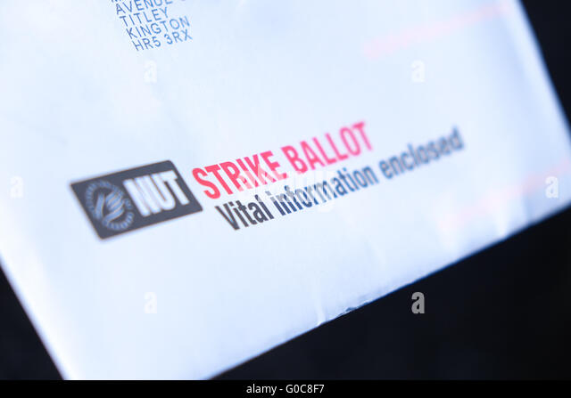 NUT Strike Ballot voting papers arrive through the post May 2016 - Stock Image