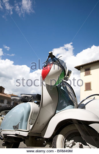 Scooter and Italian flag design helmet - Stock Image