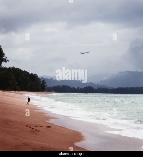 Plane flying over tropical beach - Stock Image