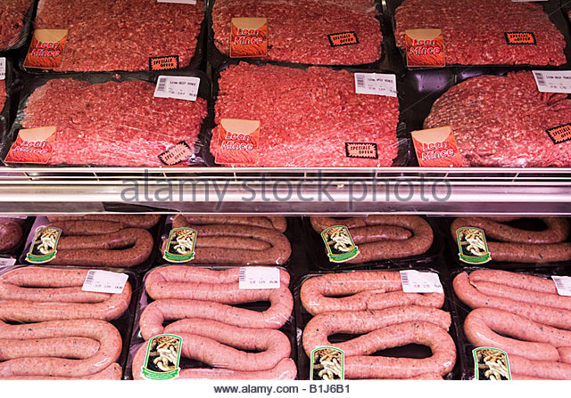 Meat in supermarket - Stock Image