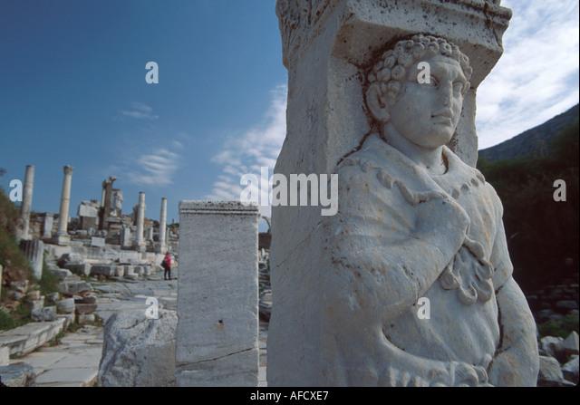 Turkey Selcuk Ephesus Curetes Street ruins of Greco Roman city BC320 - Stock Image