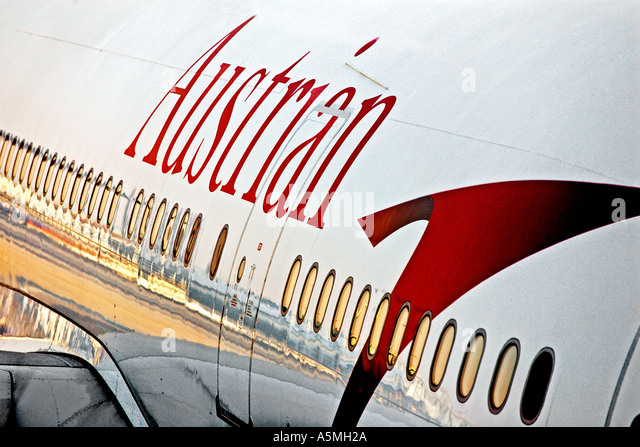 Detail of the fuselage of an Airbus A330 operated by Austrian Airlines, a subsidiary of Lufthansa - Stock Image
