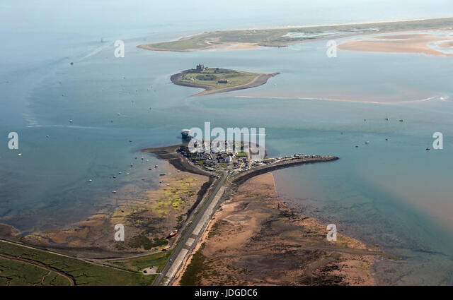 aerial view of Roa Island with RNLI Lifeboat Station, Piel Channel at Barrow in Furness, Cumbria, UK - Stock Image