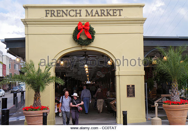 New Orleans Louisiana French Quarter National Historic Landmark Historic French Market commerce economy local products - Stock Image