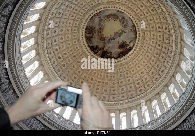 Washington DC United States US Capitol government history Rotunda dome canopy Constantino Brumidi painter fresco - Stock Image