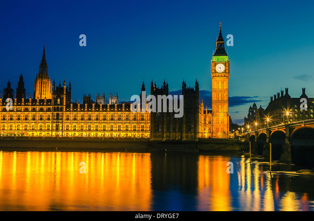 Houses of parliament at night, London - Stock-Bilder