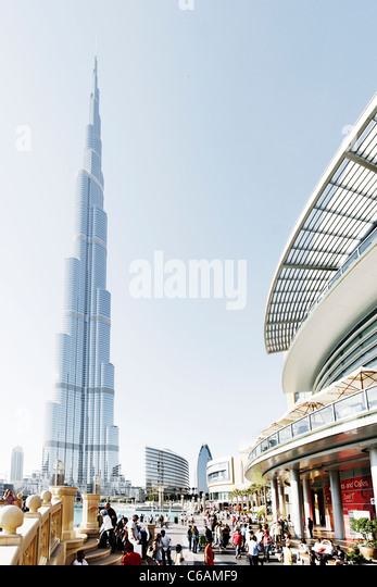 Burj Khalifa, the tallest building in the world, 828m high, and the outside area of Dubai Mall, Dubai Business Bay, - Stock Image