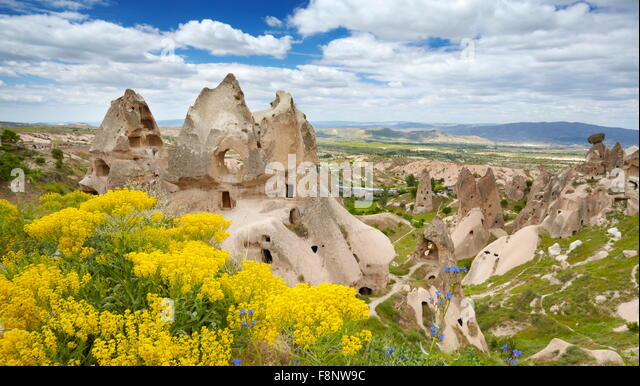 Cappadocia - stone house, Uchisar, Turkey, UNESCO - Stock Image